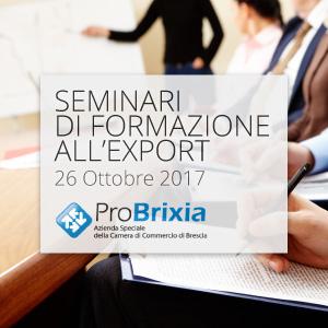 Seminario di formazione all'export - 26 ottobre 2017